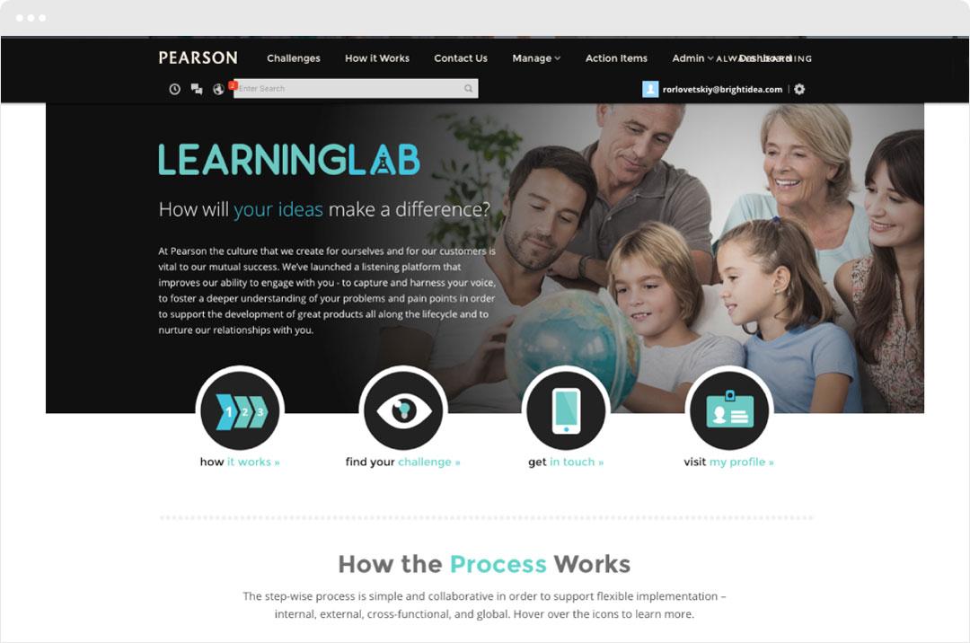 Peasron Education Learning Lab Screen
