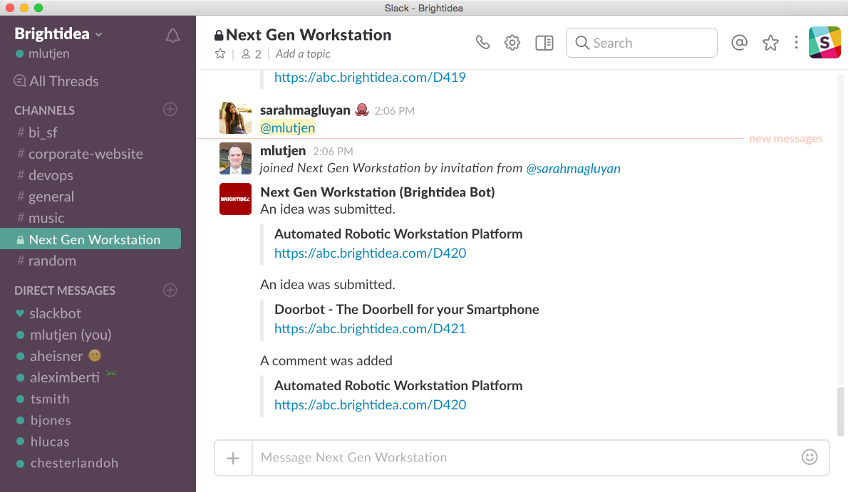 Brightidea Slack Integration